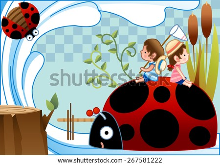 Happy Summer Vacation - lovely young pink girl and cute boy sitting on red big ladybug and enjoy relaxing time in beautiful country on bright blue background with chess pattern : vector illustration - stock vector