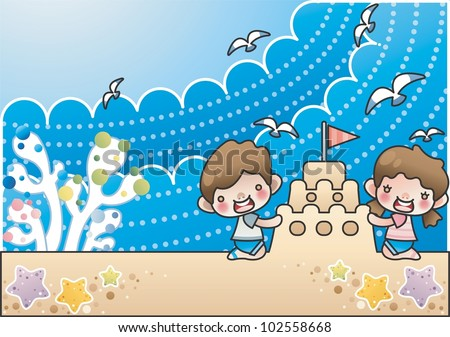 Happy Summer Vacation Playing Sand Castle Stock Vector 102558668