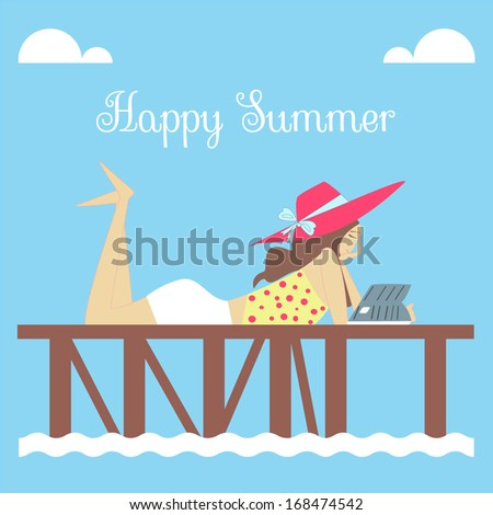 Happy Summer with Pretty Girl Reading Book on the Dock - stock vector