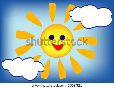 Happy sun - stock vector