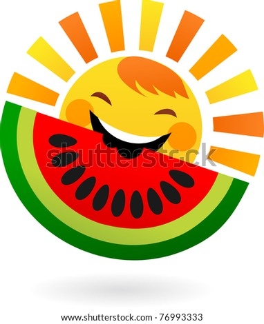 happy sun eating slice of watermelon