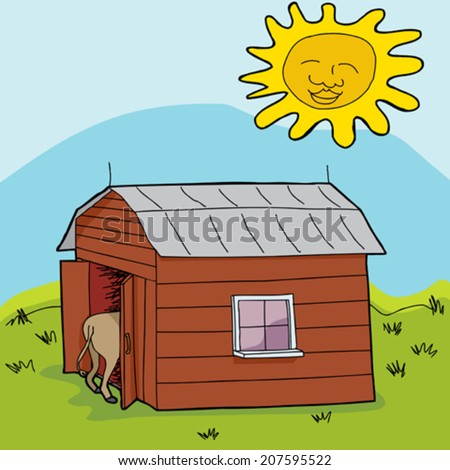 Happy sun shining above animal in barn - stock vector