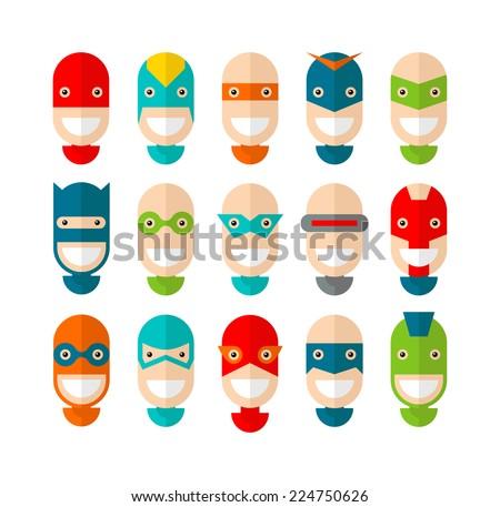 Happy superhero character, flat design, vector illustration - stock vector