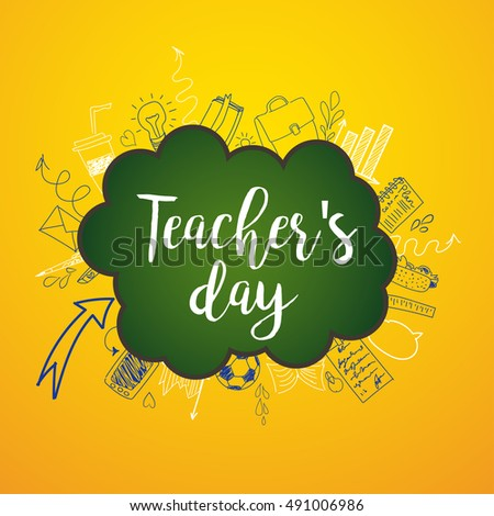Happy Teacher's day - unique handdrawn typography poster with school blue lined essentials . Vector art. Great design element for congratulation cards, banners and flyers.