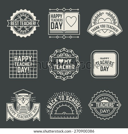 Happy Teachers` Day design insignias logotypes set 2. Thank you signs for teacher appreciation. Vector symbols elements.  - stock vector