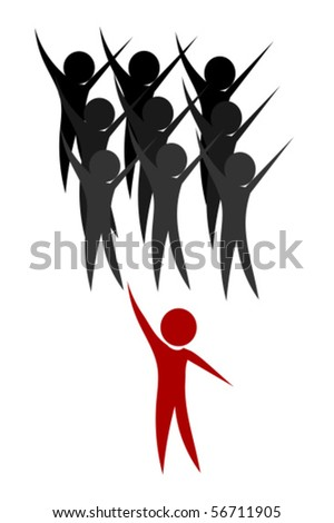 Happy team and leader - conceptual vector illustration - stock vector
