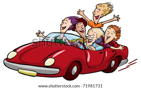 happy teens racing in the red convertible isolated on white - stock vector
