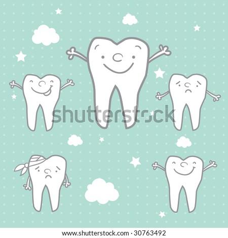 happy teeth and sad teeth cartoon vector, dental health for children - stock vector