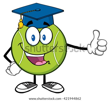 Happy Tennis Ball Cartoon Mascot Character With Graduate Cap Giving A Thumb Up. Vector Illustration Isolated On White