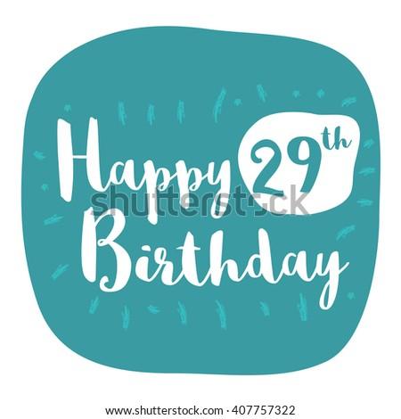 Happy 29th Birthday Card Brush Lettering Stock Vector 407757322