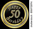 Happy 50th birthday, golden icon with diamonds, vector illustration - stock photo