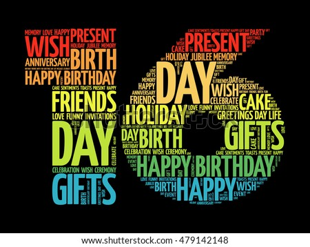Happy 16th Birthday Word Cloud Collage Stock Vector