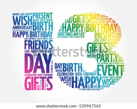 Happy 13th Birthday Word Cloud Collage Vector 530967565 – 13th Birthday Greetings