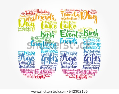 Happy 35th Birthday Word Cloud Collage Stock Vector