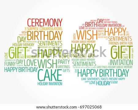 Happy 40th Birthday Word Cloud Collage Stock Vector Royalty Free