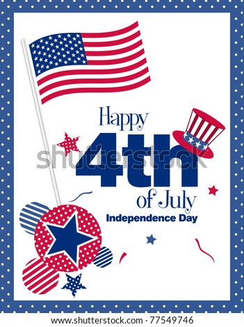 Happy 4th July greeting card, illustration - stock vector