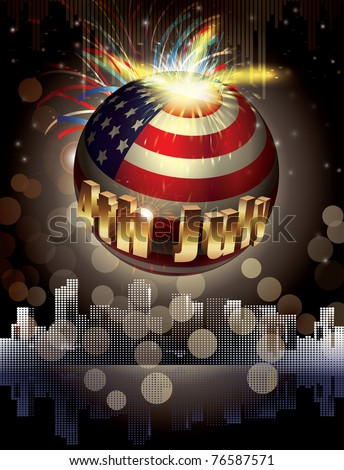 Happy 4th July. vector background. explosion of colors and shapes - stock vector