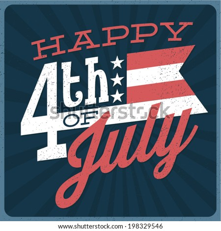 Happy 4th of July - Independence Day Vector Design - July Fourth - stock vector