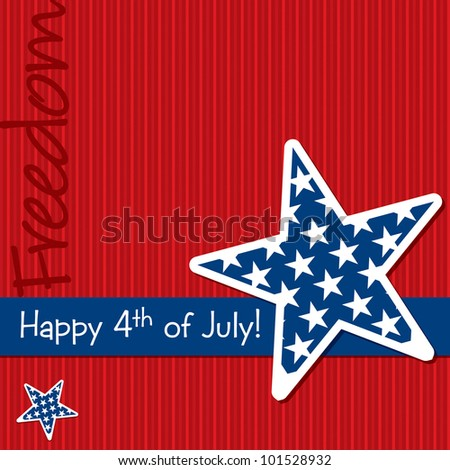 Happy 4th of July star cut out card in vector format. - stock vector