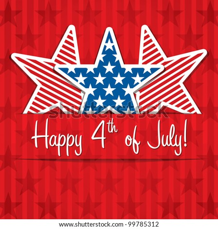Happy 4th of July sticker cards in vector format. - stock vector
