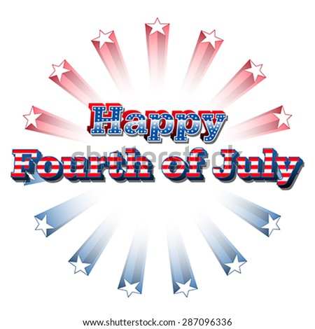 Happy 4th of July, vector - stock vector