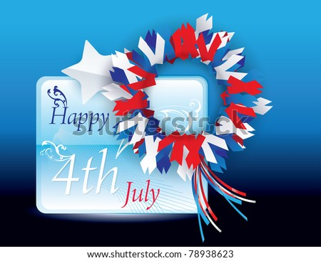 Happy 4th of July Vector greeting card - stock vector