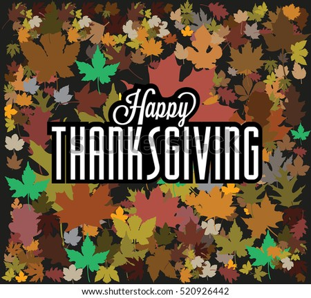 Happy thanksgiving background with colored leaves