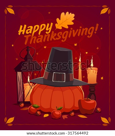 Happy Thanksgiving card, background, poster. Vector illustration. - stock vector