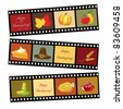 Happy Thanksgiving card template. Photos of Thanksgiving icons. EPS10 vector format. - stock photo