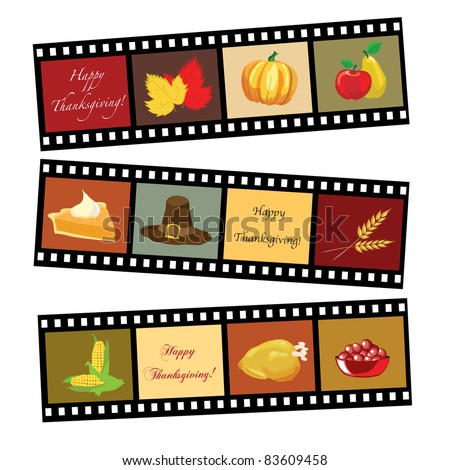 Happy Thanksgiving card template. Photos of Thanksgiving icons. EPS10 vector format. - stock vector