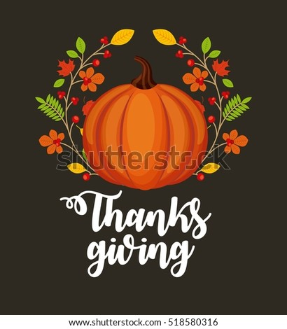 happy thanksgiving card with decorative pumpkin icons and wreath of autumn leaves. colorful design. vector illustration