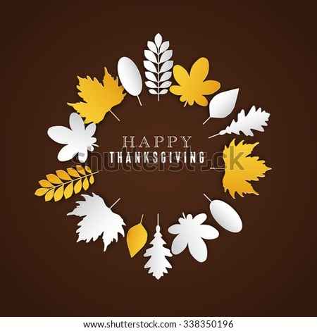 Happy Thanksgiving Day background, Collage of beautiful autumn leaves, can be use as flyer, poster or banner - stock vector