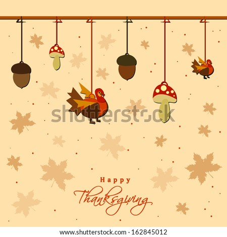 Happy Thanksgiving Day celebration concept with hanging mushroom, and turkey bird on seamless autumn leaves background.  - stock vector
