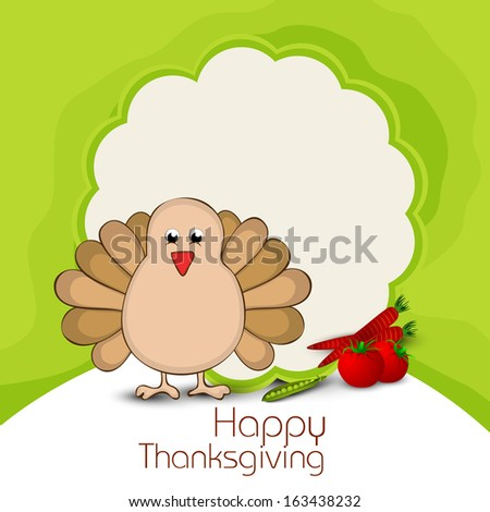 Happy Thanksgiving Day celebration flyer, poster or banner with turkey bird and space for your message on green background.  - stock vector