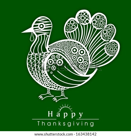 Happy Thanksgiving Day celebration poster, flyer and banner with floral decorated turkey bird on green background.  - stock vector