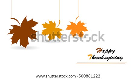 Happy Thanksgiving Day celebrations greeting card design with hanging maple leaves on white background.