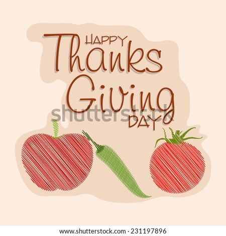 Happy Thanksgiving Day celebrations greeting card design with tomato, chilli and apple on beige background.  - stock vector