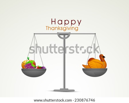 Happy Thanksgiving Day celebrations with cute turkey bird and vegetables weighted on weighing scale. - stock vector