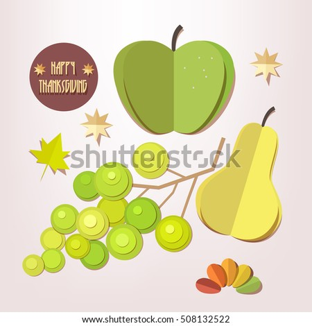 Happy Thanksgiving Day elements set - apple, grapes, pear, autumn leaves isolated. Paper cut out style vector illustrations.