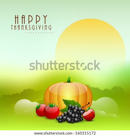 Happy Thanksgiving Day morning background with fruits and vegetables.  - stock vector