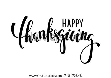 Happy Thanksgiving Hand Drawn Calligraphy Brush Stock Vector 718172848
