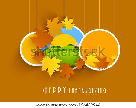 Happy Thanksgiving labels, tags or stickers with maple leafs.  - stock vector