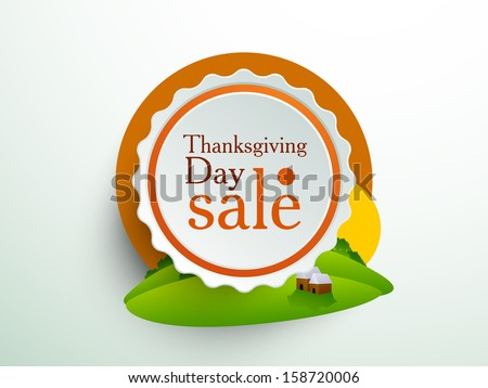 Happy Thanksgiving sale, sticker, tag or label on colorful leaves background.  - stock vector