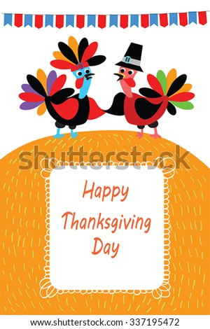Happy Thanksgivings  vector illustration - two cartoon of turkey bird as native american and pilgrim shake hands (wings). Orange autumn hill ans flags. Flat Thanksgiving greeting card,poster, banner. - stock vector