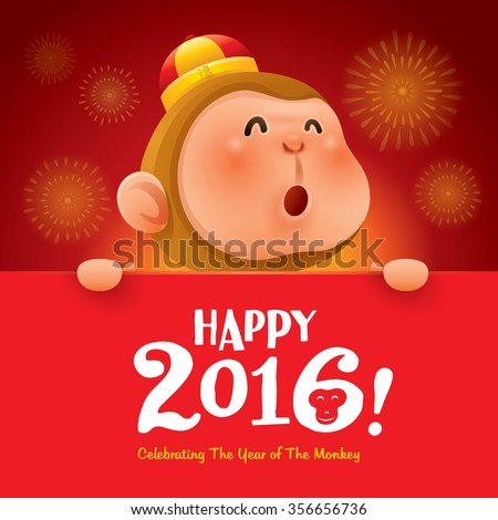 Happy 2016! The year of the monkey. - stock vector