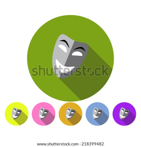 Happy theater mask on colorful background with shadow - stock vector