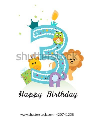 Happy third birthday animals baby boy stock vector 420741238 happy third birthday with animals baby boy greeting card vector bookmarktalkfo Choice Image