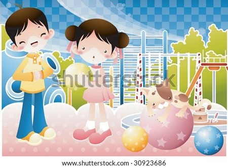 Happy Time with Children Play Space - enjoying colorful ball game with cute young kids and adorable kitty cat in the outdoor playground on a background of blue check pattern : vector illustration - stock vector