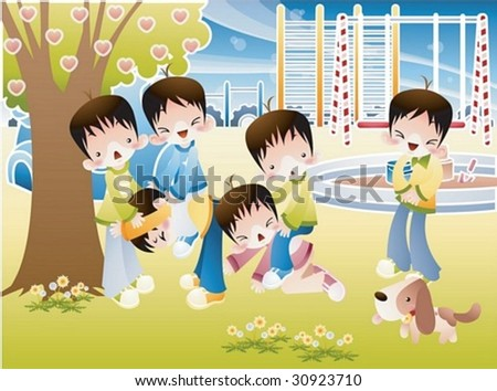 Happy Time with Kids Play Space - group of young children enjoy fun activities with cute puppy dog in the colorful playground on a background of sunny sky and green grass field : vector illustration - stock vector