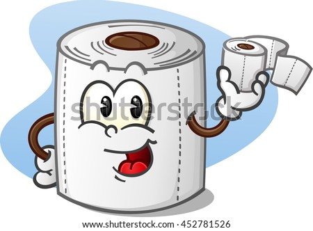 Happy Toilet Paper Cartoon Character Holding a Roll of Bathroom Tissue - stock vector